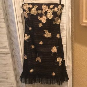BCBG MaxAzria Floral Feathery Black Dress